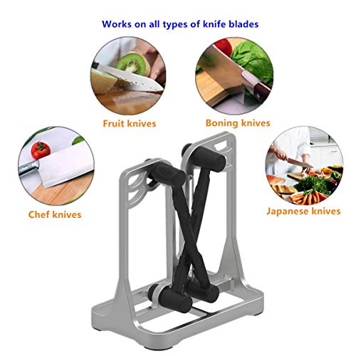 Knife Sharpener As Seen On TV, Funcilit Kitchen Bavarian Knife Edge Sharpener, 2021 Newest Version with Aluminium Alloy Frame and Military Grade Steel Blades
