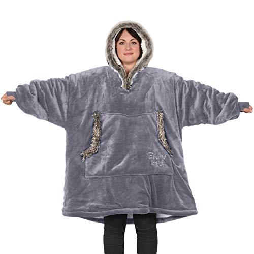 SnugRug Eskimo Couverture à capuche oversize, ultra douce et chaude en tissu sherpa polaire, taille unique et unisexe
