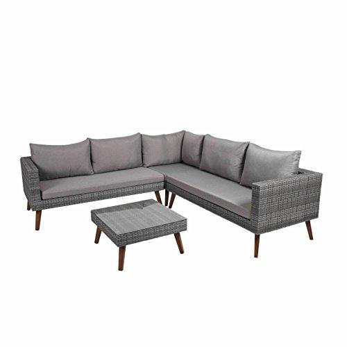 Greemotion Gomera 4-teilig Garten Lounge-Set für 5 Personen, braun