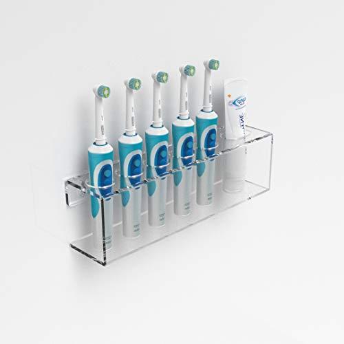 Wandhalterung für elektrische Zahnbürste & Zahnpasta, acryl, farblos, 5 Toothbrush & Toothpaste