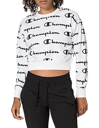 Champion Seasonal AC Logo Allover Crewneck Sweatshirt Felpa, White Wl004, S Donna