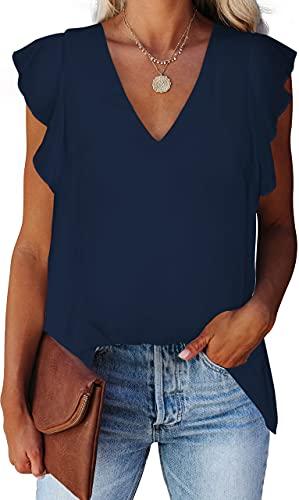 Alice CO Women's Chiffon V Neck Blouse Sleeveless Layered Shirts Casual Flowy Navy Blue Tank Tops L