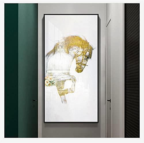 DIY 5D Pintura diamante Kits Casa De Caballo Abstracta Completo Crystal Diamantes de imitación Diamond painting Adulto Bordado de punto de cruz Canvas de Home dormitorio Wall Decor regalo 80x1