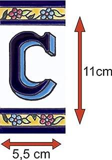 Numeros y letras para casa 5,5 x 11 cm pintado a mano (Letra C)
