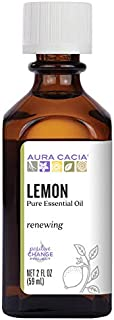 Aura Cacia 100% Pure Lemon Essential Oil | GC/MS Tested for Purity | 60 ml (2 fl. oz.) | Citrus limon