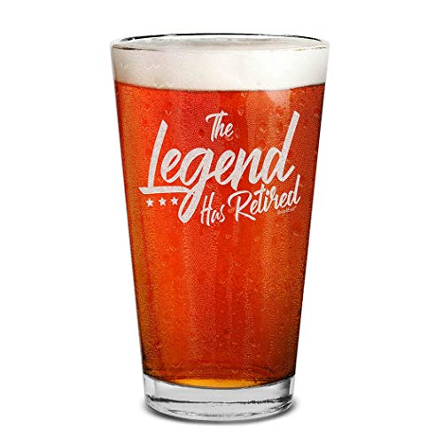 Shop4Ever The Legend Has Retired Laser Engraved Beer Pint Glass Retirement Gift for Men Dad Grandpa Uncle Coworker
