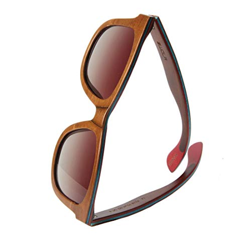 WOLA Sonnenbrille Holz AIR eckige Holzbrille Skateboard-Stil polarisiert Damen Herren UV400 (Nuss_ohne_Etui)