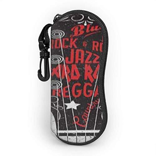 Funda de Gafas Permite Rock Con Texto Grunge Mirando Color Salpicado Letras Ultra Ligero Neopreno Suaves viaje Estuche para Gafas de caso Bolsa con Clip de Cinturón
