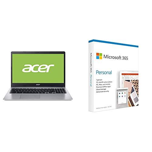 Acer Chromebook 315 (15,6 Zoll Full-HD IPS Touchscreen matt, 20mm flach, extrem Lange Akkulaufzeit, schnelles WLAN, MicroSD Slot, Google Chrome OS) Silber + Microsoft 365 Personal | Box