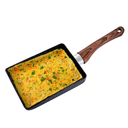 Sartén para Tamagoyaki de 18 * 15cm, Cacerola Rectangular Antiadherente para Tortillas con Handle de Madera, Japonesa Utensilios Sartén para Huevos