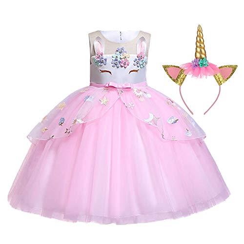 LZH Mädchen Blume Einhorn Kleid Cosplay Festliche Hochzeit Geburtstagsfeier Prinzessin Carnival, 2 Stück-rosa, 110