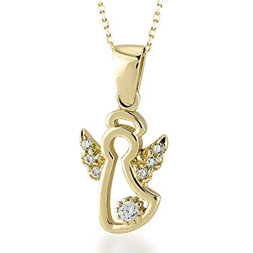 Collana da donna in oro giallo 585, 14 carati, con ciondolo a forma di angelo custode e zirconi, misura catenina: 45 cm, chiusura con anello a molla, idea regalo