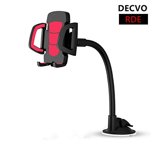DECVO Car Windshield Phone Mount Long Arm 360° Adjustable Universal Phone Holder Strong Adhesive Suction Cup Cell Phone Holder Compatible with iPhone 5/6/7/8/X, Sumsung Galaxy, LG, GPS More (Red)