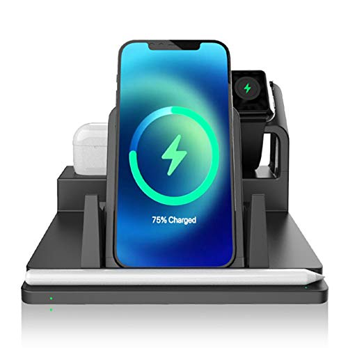 LTLJX Wireless Charger, Qi Phone Fsat Wireless Charging Station for iPhone 12/12 Pro/11/XS/X/8, Apple Watch Series 6/SE/5/4/3/2, Airpods Pro/2, Pencil, Samsung Galaxy S20/S10/S9, iPad Stand