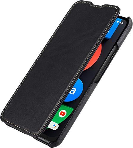 StilGut Book Hülle kompatibel mit Google Pixel 4a 5G Hülle aus Leder zum Klappen, Klapphülle, Handyhülle, Lederhülle - Schwarz Nappa