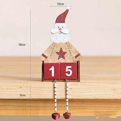 Navidad Mini Calendario de Madera Colgante de Navidad Calendario de Adviento Regalos Kalendarz Adwentowy Calendrier De L Avent (Color : Wooden Calendar)