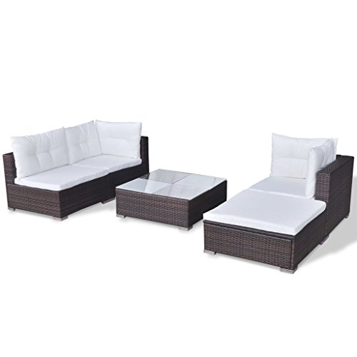vidaXL Gartenmöbel 14-TLG. Poly Rattan Sofa Lounge Sitzgruppe Gartengarnitur - 6