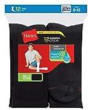 Hanes Herren Crew-Socken, Weiß, Gr. 39-40 - schwarz - BIG Shoe Size: 12-14