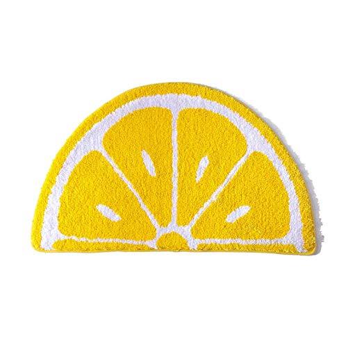 Playtime Cozy Lemon Cute Fruits Half Round Shaped Bedroom Bathroom Doorway Kitchen Floor Rug Carpet Water Absorption Non-Slip mat for Kid's Room (Yellow, 4565CM)