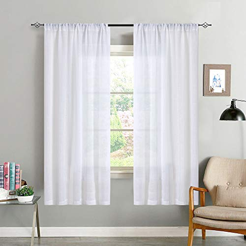 White Linen Textured Sheer Curtains Open Weave Crosshatch Window Treatment Set for Bedroom 63 Inches Heave Weight Room Drapes Rod Pocket,2 Panels