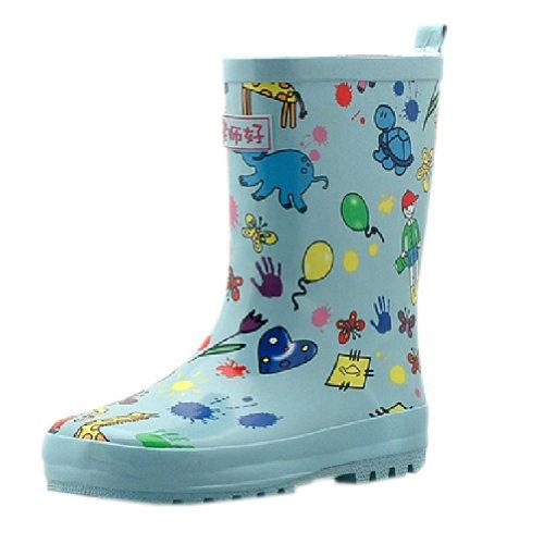 Bleu d'impression pour tout-petits Chaussures de pluie bébé Rain Boot journée Pluvieuse l'usure en caoutchouc Chaussures