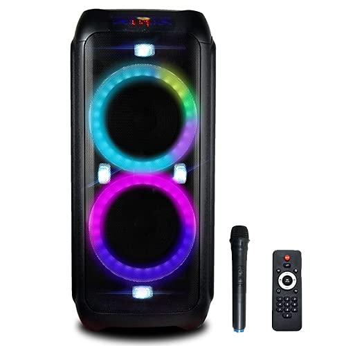 iDance DX800MK2 - Altavoz portátil con Bluetooth para fiestas (efectos de luz LED y micrófono inalámbrico, 800 W, karaoke, USB, AUX, batería externa), color negro