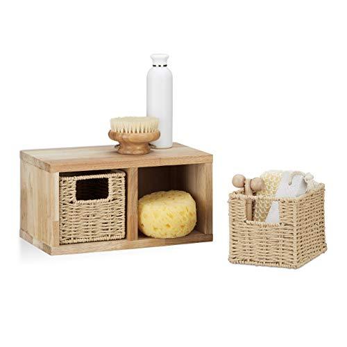 Relaxdays Estantería, Dos cestas extraíbles, Diseño rústico, Mueble de Pared, 1 Ud, Nogal, Marrón Natural, 16x31x18 cm