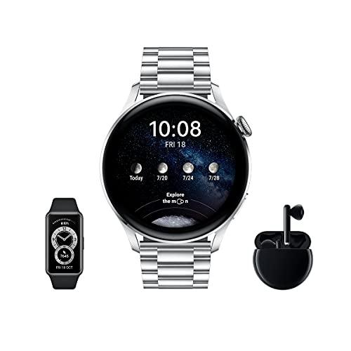 HUAWEI Watch 3 Elite + Freebuds 3 Negro + Band 6 - Smartwatch 4G con pantalla táctil 1.43'' AMOLED, eSIM para llamadas telefónicas sin móvil, 3 días de batería, Correa de fluoroelastómero negra