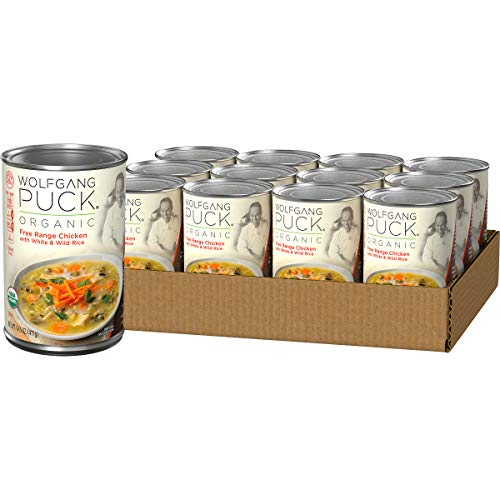 Wolfgang Puck Organic Free Range Chicken with White & Wild Rice Soup, 14.5 Ounce (Pack of 12)
