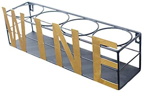 Win&Factory Wijnrek voor thuis, 4 flessen met gouden letters van smeedijzer, wandmontage, fietsendrager voor omgedraaide wijn (kleur: A) Een
