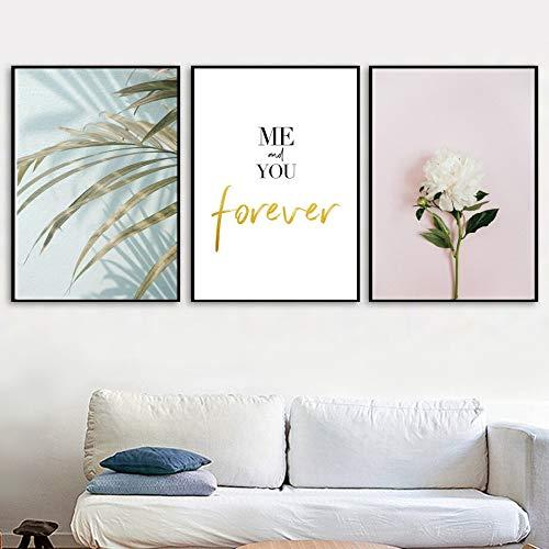 UIOLK Pintura de Arte Multicolor Hoja de Palma Flor Blanca Paisaje Lienzo Pintura Cartel nórdico Pintura Grabado Pintura Decorativa Habitación Regalo del día de San Valentín