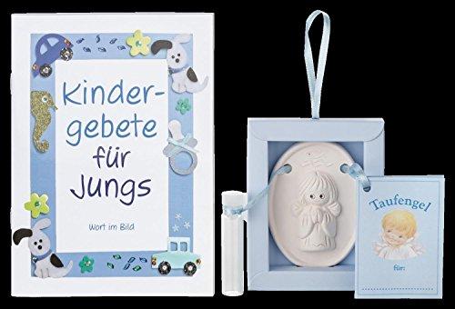 Geschenkset - Taufengel mit Weihwasser - Fläschchen für Jungen - Handarbeit!