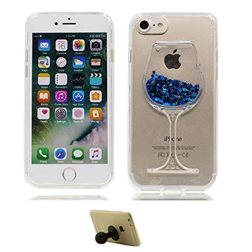 MZBaoLingMeiDongEU Hoesje voor iPhone 7 Plus roze, 3D wijnglas Vloeistof Quicksands bling Stars Case Zachte Rubber Bumper Beschermende Gel TPU Cover Schokbestendig Hoesje - 1 Siliconen Zuignap, Bumper Hoes, colour 6