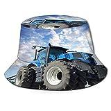 Sombrero de Pescador Unisex Las ruedas del tractor gran granjero de campo trabajando en maquinaria agrícola trabajan cielo Plegable De Sol/UV Gorra Protección para Playa Viaje Senderismo Camping