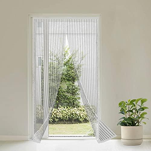Virsus Zanzariera Magnetica con misura 110 x 220 cm tenda a 2 pannelli per Porte Finestre Balcone Anti Zanzare e insetti per Cucina, Soggiorno colore bianco