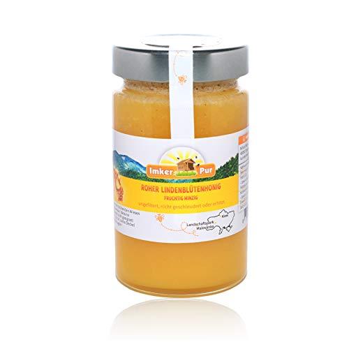 Roher Honig von ImkerPur, ungefiltert, nicht geschleudert oder erhitzt, enthält Blütenpollen, Bienenwachs, Propolis, Bienenbrot und Gelee Royal (400 g Roher Lindenblütenhonig)