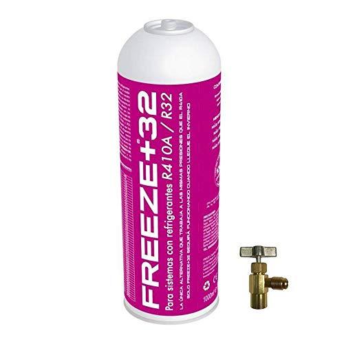 REPORSHOP - 1 Botella Gas Ecologico Refrigerante Freeze Organico +32 350Gr + Valvula Sustituto R32, R410A