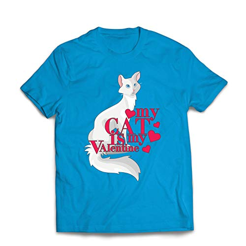 lepni.me Mens T-shirt Min Katt är min Valentin Present till Kattälskare (XXL Blå Multi Color)