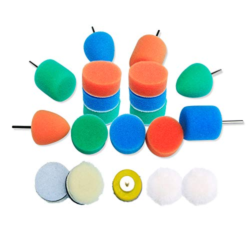 Mini Detail Polisher Pads 1 Inch Buffing Pad Kit for Mini Polisher Electric Drill Rotary Tool, 20pcs Polishing Pad Set, Backer Pad and Mini Polishing Cones for Small Areas Polishing.