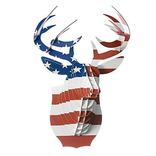 Cardboard Safari TIERKOPF-BÜSTE mit Artprint der US Flagge, Deko Hirschgeweih, Wandskulptur Buck der Hirsch im US-Erscheinungsbild
