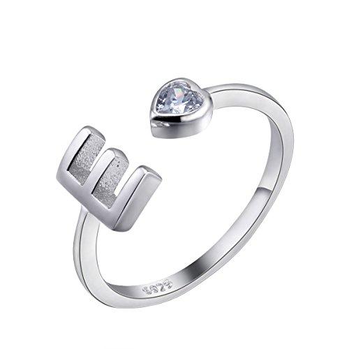 GemShadow - Anillo de plata de ley 925 ajustable para mujer, talla JJ;