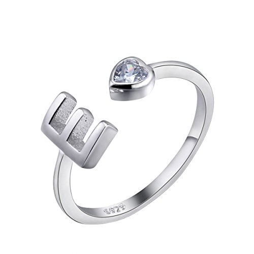 VIKI LYNN Women Ladies Girls 925 Sterling Silver Adjustable E Initial Rings Size J