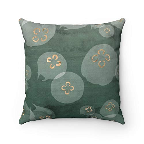 Promini Abstract Art Pillow Cover, Jellyfish Octopus, Green Gold Ocean Sea, Modern Pillowcase, Watercolor Decorative Couch Accent Case Cushion for Sofa Home Decor 26 x 26 Inches