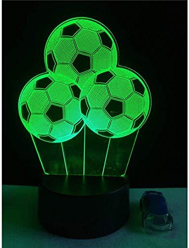 Nachtlampje voetbal ballon 3d lamp illusie multicolor nachtlampje huis decoratieve usb stemmingsschakelaar touch remote tafel chirstmas geschenk