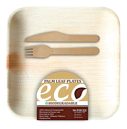 """ECO Palm Leaf Plates 90 PK ; 10"""" Fallen planet Friendly areca tree Disposable Bamboo-Style Dinnerware; Natural and Biodegradable (30p 30f 30k)"""