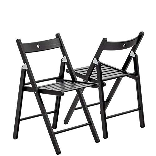 Chaises en bois pliantes - couleur bois noir - lot de 2