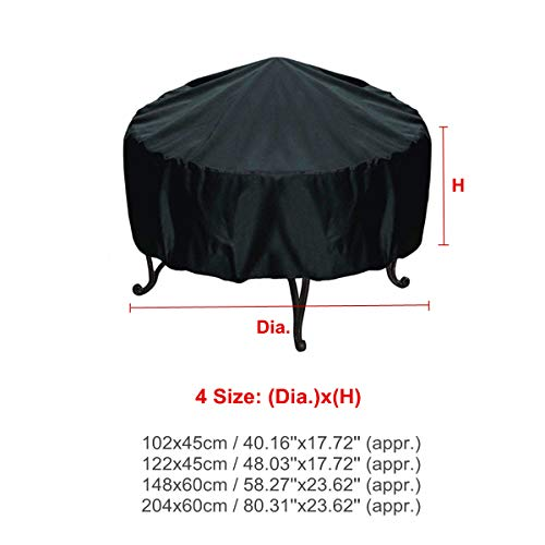 dDanke Black Round Fire Pit Cover Waterproof Dust-proof Outdoor Garden Patio Protective Cover with Drawstring for Stove (XL)
