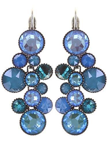 WATER CASCADE Ohrhänger in Blau| KONPLOTT - Exklusiver Designer-Modeschmuck mit Swarovski Elements | Ohrring mit Glitzer-Steinen | Ohrstecker für Damen | Schönes Geschenk