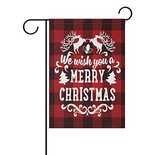 Fendy-Shop 32cmx48cm Pancarta Jardín Decoración de Exterior Banderas Flag Tela Escocesa Renos navideños Banderas para jardín Poliéster Decorativos Doble Costura