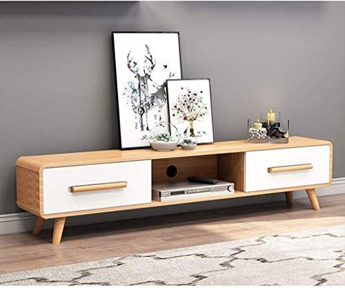 CSD Entretenimiento Soporte TV Gabinete TV Soporte Consola de Almacenamiento con cajones Media Console (Color : Wood Color+White, Size : 120x30x40cm)
